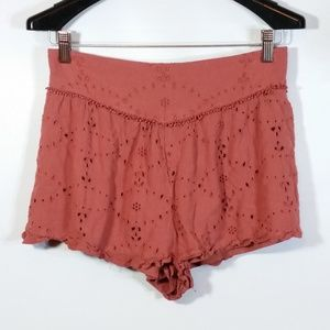 AEO Boho Eyelet Pull-On Shorts Mauve Perforated